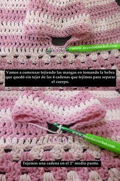 Como Tejer Un Saco-Campera-Cardigan-Cham - maallure Love Crochet, Crochet For Kids, Crochet Lace, Cardigan Bebe, Crochet Cardigan Pattern, Crochet Motif Patterns, Knitting Patterns, Diy Crafts Crochet, Crochet Ideas