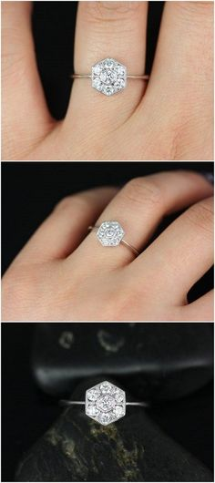 Mosaic 14kt White Gold WITH Milgrain Diamonds Cluster Engagement Ring / http://www.deerpearlflowers.com/inexpensive-engagement-rings-under-1000/