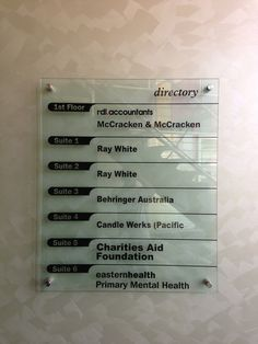 Directory Board sign for eastern health Primary Mental Health design and installed by Sign A Rama Box Hill.