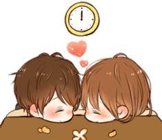 It's love by toco sticker Cute Anime Chibi, Anime Love, Good Morning Cartoon, Love Cartoon Couple, I Love You Girl, Korean Stickers, Cute Cartoon Images, Line Sticker, Kirito