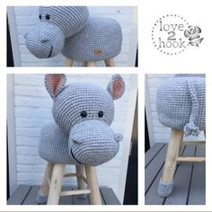 Crochet Hippo, Crochet Animals, Crochet Toys, Knit Crochet, Stool Cover Crochet, Diy Craft Projects, Diy Crafts, Baby Deco, Stool Covers