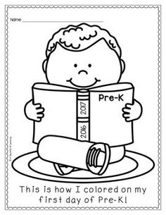 First Day of Preschool Coloring Pages Back to School Pinterest
