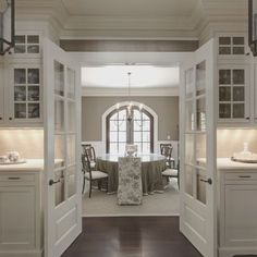 "Benjamin Moore Color...""ashley gray."" A gorgeous color that goes fantastic with dark hardware and white trim."