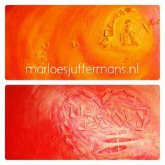 17 oktober 2014. Vanmiddag was het licht goed genoeg om 2 recente schilderijen te fotograferen. Voor het resultaat en wat extra informatie over de schilderijen zie http://www.marloesjuffermans.nl