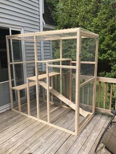 We made this over two weekends for Franklin. He loves it! Outdoor Cat Enclosure, Diy Cat Enclosure, Outdoor Cat Run, Cat Shelves, Cat Condo, Cat Towers, Cat Room, Catio Ideas For Cats, Cat Furniture