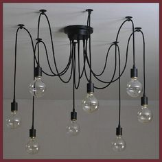 Free shipping 6/8/10/12/14 Nordic Retro Edison Bulb Chandelier Vintage Loft Anti que Adjustable DIY E27 Spider Chandelier