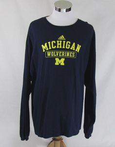Adidas University of Michigan Wolverines Long Sleeve shirt. Size 2XL 100% Cotton #adidas #MichiganWolverines