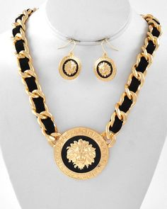 LION Pendant Necklace laced with blk cord and by RICHGIRLZROCK, $26.00