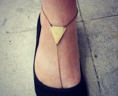 triangle anklet, slave anklet, barefoot sandal, leg piece, foot piece, unique anklet