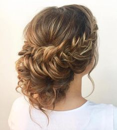 Low curly bun with a crown braid braided hairstyles, debs hairstyles, braided upstyles, Box Braids Hairstyles, Quince Hairstyles, Pulled Back Hairstyles, Summer Hairstyles, Party Hairstyles, Wedding Hairstyles, Curly Bun, Braids For Short Hair, Curly Hair Styles