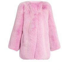 Gucci Fox-fur coat ($19,000) ❤ liked on Polyvore featuring outerwear, coats, pink, gucci, embroidered coat, fox fur coat, pink coat and collarless coat