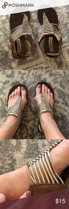 Steve Madden Starly Sandals size 9.5 Steve Madden Starly Sandals size 9.5. Good condition. One little gold metallic strap half torn. Not noticeable with wear. Brown leather with gold metallic. Steve Madden Shoes Sandals