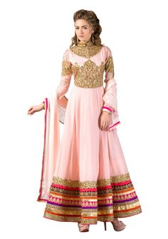 Semi Stitched Pure Georgette Embroidered Anarkali Suit M316-2252 At Aimdeals.com