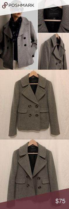 ✂️❗️NWOT🌟Banana Republic Double Breasted Pea Coat Beautiful, thick, luxurious gray wool blend with silky soft black lining throughout. Very well constructed with high end materials. Double breasted on front with cute pleat & 2 button belt back. Brand New - in perfect condition!     ❄️Winter is coming, guys! Time to prepare your wardrobe! Banana Republic Jackets & Coats Pea Coats