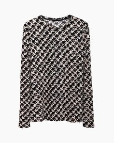 Proenza Schouler Long Sleeve Tweed Printed Tissue Tee | La Garçonne