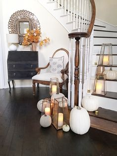 Fall Lanterns And White Pumpkins Foyer Decorating Ideas #falldecor  #foyerfalldecor
