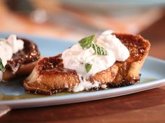 Cuban Torrejas with Guava-Maple Syrup and Cream Cheese Whipped Cream