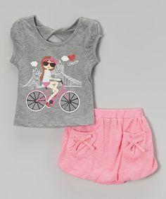 Look what I found on Gray 'London' Bike Top & Skirt - Toddler & Girls by Unik Toddler Girl Outfits, Kids Outfits, Toddler Girls, Polo Outfit, Kids Wardrobe, Stylish Tops, Illustration Girl, Ballet, Summer Girls