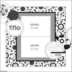 Bonus Sketches from Spring 2013 issue of Scrapbook & Cards Today - Canada's scrapbooking magazine - www. Baby Scrapbook Pages, Scrapbook Journal, Scrapbook Paper Crafts, Scrapbook Cards, Scrapbooking Ideas, Scrapbook Layout Sketches, Card Sketches, Sketch 2, 2 Photos