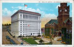 These two postcard views give a really good idea of what the old Los Angeles Civic Center looked like, and where the buildings were in relat...