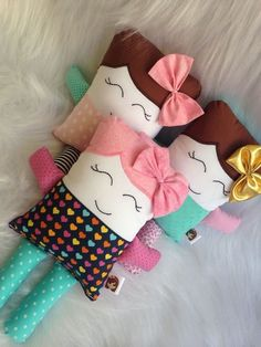 Funny Pillows, Baby Pillows, Kids Pillows, Animal Pillows, Rabbit Crafts, Tooth Fairy Pillow, Doll Quilt, Sewing Dolls, Doll Maker