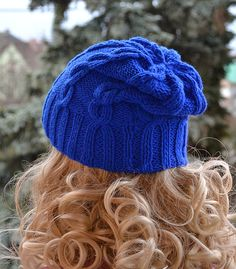 Sapphire beani cap / hat Knitted Slouchy cable by DosiakStyle