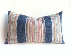 One Multicolor Stripe Designer Pillow Cover or lumbar Pillow cover Festival Roads Orange Blue Green Denim Cushion cover Handmade Pillow Covers, 20x20 Pillow Covers, Pillow Cover Design, Handmade Pillows, Decorative Pillow Covers, Lumbar Pillow, Solid Brick, Shabby Chic Pillows, Striped Cushions