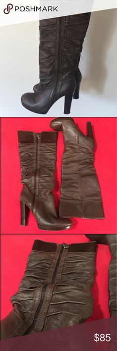 Miss Sixty Ruched Boots Miss Sixty ruched brown leather knee-high boots with faux side zipper detail, five inch heel & half inch platform. Easy to put on a take off. Miss Sixty Shoes Heeled Boots