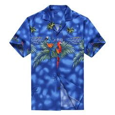 Made in Hawaii Men's Hawaiian Shirt Aloha Shirt Parrots Match Front Blue