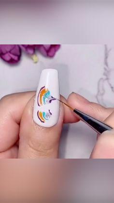 Diy Acrylic Nails, Gel Nail Art, Nail Art Diy, Diy Nails, Sharpie Nail Art, Nail Art Designs Videos, Nail Art Videos, Diy Nail Designs, Stylish Nails