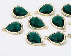 [JUPITER]  Emerald Glass Pendants Polished Gold Plated by DesignInYourHeart