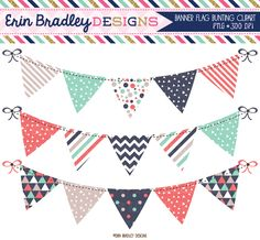 Triangle Collection Bunting Clipart Set Instant Download Commercial Use Clip Art Graphics