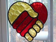 Stained Glass Suncatcher  Joined Hands make a by WildwindsGlass, $18.00