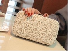 New Women Fashion Wedding Bride Lace Day Clutch Bag Party Dinner Evening Bags White Elegant Bridesmaid Day Clutch Purse Bridesmaid Bags, Bridesmaids, Name Brand Handbags, Summer Handbags, Wedding Jacket, White Handbag, Lace Weddings, Handbags On Sale, Lace Applique