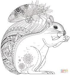 Squirrel Zentangle | Super Coloring
