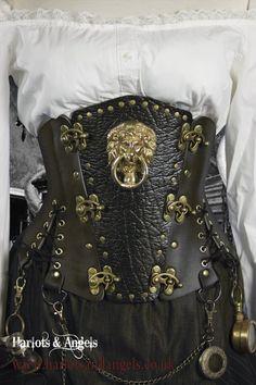 Steampunk Black Steel Boned corset Belt with por Harlotsandangels, $165.00