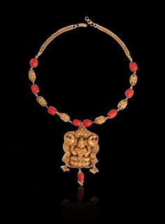 Coral Antique Necklace Designs | Lakshmi Peacock Coral Antique Necklace