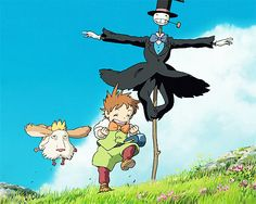 Howl's Moving Castle. My mom loves this part when they laughed so hard.