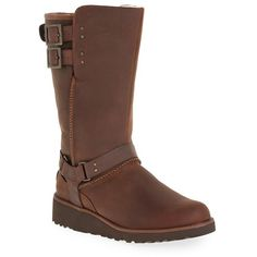 Women's Ugg 'Jasper' Water Resistant Boot ($240) ❤ liked on Polyvore featuring shoes, boots, chestnut leather, mid-calf boots, genuine leather boots, ugg australia boots, shearling-lined boots, ugg australia and water resistant boots