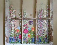 Old window wall art ideasVintage window floral paneUnique Old Window Art, Window Pane Art, Old Window Decor, Window Ideas, Window Frames, Window Wall, Painted Window Panes, Old Windows Painted, Antique Windows
