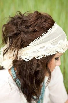 This is beautiful - bohemian, messy, braid, half up, wide headband. Its got it all hair-ideas