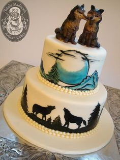 Natalie Madison's Artisan Cakes - Arkansas: A hand painted scene, inspired by the couple's tattoos and love of wolves.  The Twin Wolves topper is also a chocolate sculpted piece, completely original.