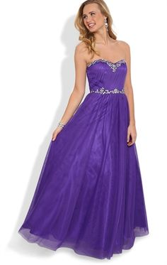 Deb Shops Strapless Long #Prom #Dress with Stone Neckline and Soft Skirt $179.90
