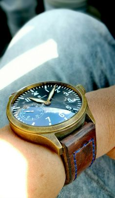 3 years natural patina Steinhart bronze pilot watch. Ammo strap