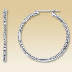 Diamond hoop earrings - LOVE