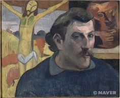 황색 그리스도가 있는 자화상 /폴 고갱   이 자화상은 폴 고갱이 1891년 4월 타히티로 가기 전 마지막으로 완성한 작품이다. 고갱은 이 작품에서 자신의 모습을 정확히 표현하기 위해 거울 맞은 편에 서서 고전적인 방식으로 작업하였다. 평행한 붓터치와 고르게 분포된 빛 효과 덕분에 그의 모습은 자신 있게 그려졌고, 야성적인 표정도 강조되었다. 고갱의 주위로는 1889년 완성한 두 점의 작품이 그려져 있다. 좌측으로는 « 황색 그리스도 »의 일부분이, 오른쪽에 보이는 두 번째 작품은 «그로테스크한 얼굴 형태의 자화상 항아리»이다. «황색 그리스도»는 배경을 성당 대신 들판 한 가운데로 바꾸어 그리고, 독실한 신자들과 무신론자들 사이에서 괴로워하는 그리스도를 형상화함으로써 인류를 초월한 선도자를 표현 했다. 또한 상상을 통해 표현한 노란색은 주변 들판의 가을 색채와 조화를 이룬다.