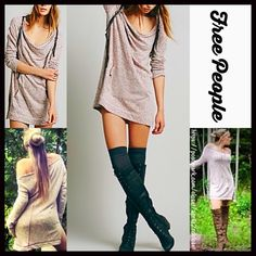 """FREE PEOPLE Tunic Mini RETAIL PRICE: $98  NEW WITH TAGS   FREE PEOPLE Mexicali Tunic Pullover Mini Dress * Oversized, drapey, & a relaxed loose knit silhouette * Incredibly soft, stretch-to-fit fabric; Flattering center back seam * Drop shoulders front (can be worn off of a shoulder) & long sleeves * About 31""""   long, tunic length w/subtle Hi-Lo hemline * Kangaroo style front pockets #  Pastel Fabric: 61% Cotton & 39% Rayon Blend; Machine wash Item:97900 Color: Pomegranate ✅Offers Consdered✅…"""