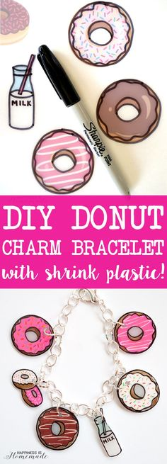 Shrinky Dink Donut Charm Bracelet - Make your own super cute donut charm bracelet with shrink plastic! Makes a great quick & easy DIY gift idea – SO many fun possibilities! via Happiness is Homemade Shrinky Dinks, Diy Donuts, Cute Donuts, Diy Jewelry, Jewelry Making, Jewelry Storage, Jewelry Ideas, Jewelry Box, Recycled Jewelry