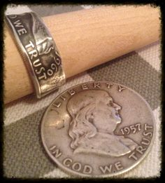 Silver Ben Franklin Coin Ring - 1948-1963 Year Coin - Hand Made USA