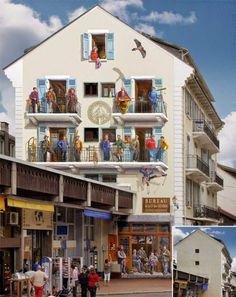 Стрит арт - французский стиль фасадов домов|Интересыч